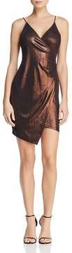 Astr Clarissa Metallic Faux-Wrap Dress