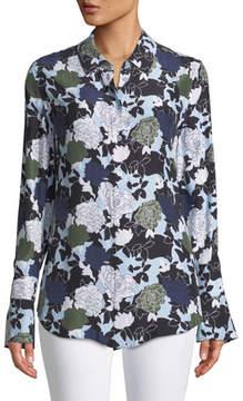 Equipment Daphne Button-Front Long-Sleeve Floral-Print Silk Shirt