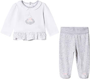 Mayoral White Bunny Top and Grey Footed Leggings Set