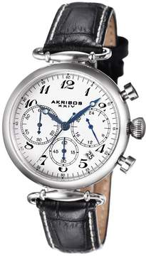 Akribos XXIV Akribos Chronograph White Dial Black Leather Ladies Watch