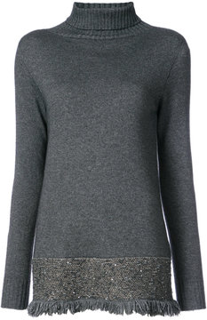 D-Exterior D.Exterior embroidered and fringed hem sweater