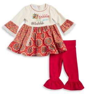 Iris & Ivy Little Girl's Graphic Peplum Cotton Dress and Flared Cotton Leggings