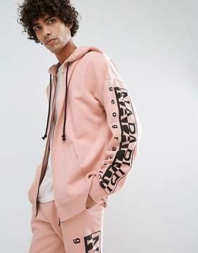 Napapijri Badstow Zip-Thru Hoodie In Pink