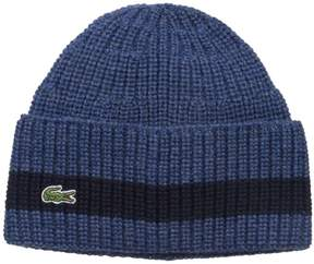 Lacoste Men's Cardigan Rib Knitted Cap with Green Croc