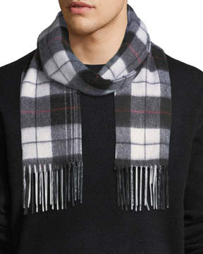 Neiman Marcus Cashmere Waterweave Box Plaid Fringe Scarf