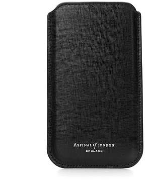 Aspinal of London | Iphone 6 Plus Leather Sleeve In Black Saffiano | Black saffiano