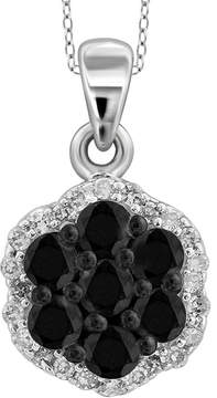 Black Diamond FINE JEWELRY 1/2 CT. T.W. White & Color-Enhanced Cluster Pendant Necklace