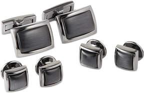 Ryan Seacrest Distinction Men's Black with Grey Cateye Cufflinks & Tuxedo Buttons Set, Created for Macy's