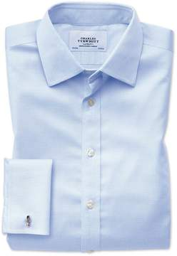 Charles Tyrwhitt Slim Fit Non-Iron Puppytooth Sky Blue Cotton Dress Shirt French Cuff Size 14.5/33