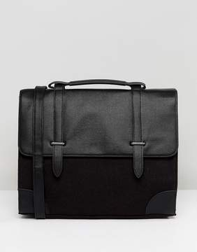 Asos Satchel In Saffiano Faux Leather And Charcoal Melton