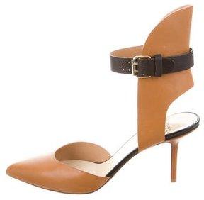 Francesco Russo Leather Ankle Strap Pumps