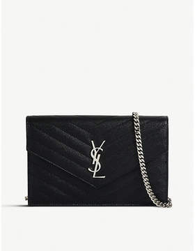 Saint Laurent Monogram quilted leather envelope wallet-on-chain - BLACK SILVER HW - STYLE