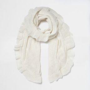 River Island Womens Cream frill hem knit scarf