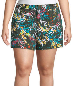 Boutique + + 5 Floral Twill Shorts - Plus