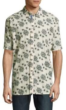 Report Collection Floral-Print Linen-Cotton Shirt