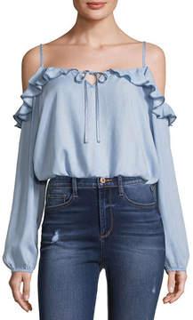 Arizona Long Sleeve Straight Neck Woven Blouse-Juniors