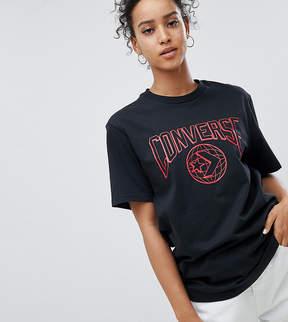 Converse Star Chevron World Logo T Shirt In Black