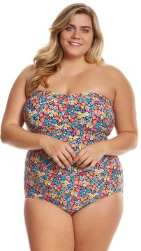 Anne Cole Signature Plus Size Budding Romance Shirred Bandeau One Piece Swimsuit 8151763