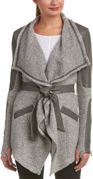 Blanc Noir Draped Silk- And Leather-Trim Wool-Blend Cardigan