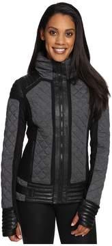 Blanc Noir Mesh Inset Moto Puffer Women's Coat