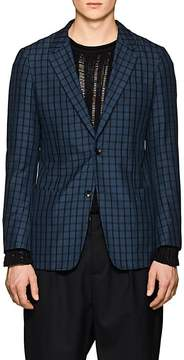 TOMORROWLAND Men's Plaid Silk Seersucker Two-Button Sportcoat