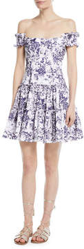 Caroline Constas Maria Off-the-Shoulder Fit-and--Flare Floral-Print Poplin Dress