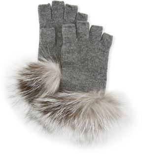 Neiman Marcus Fingerless Knit Gloves with Fox Fur Trim, Medium Gray