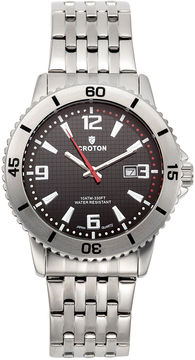 Croton Mens Black Dial Stainless Steel Sport Watch