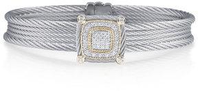 Alor Classique Five-Row Micro-Cable Bracelet w/ Square Diamond Station, Gray
