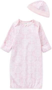 Little Me Baby Girls Newborn-3 Months Damask Gown & Hat Set