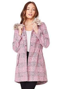 BB Dakota Junior's Pink Slip Plaid Coat with Faux Fur Trim Hood