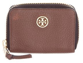 Tory Burch Leather Compact Wallet - BROWN - STYLE