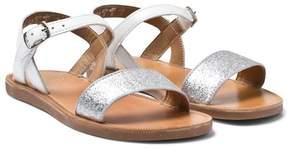 Pom D'Api Pom Dapi White Glitter Plagette Buckled Sandals