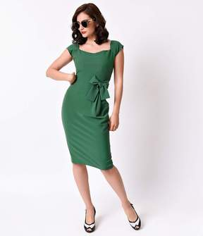 Stop Staring 1950s Style Green Celia Cap Sleeve Wiggle Dress