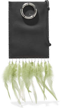 The Row Medicine Pouch Feather-embellished Textured-leather Shoulder Bag - Black