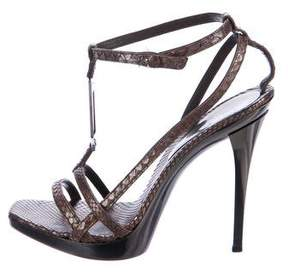 Versace Embossed Suede Sandals