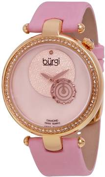 Burgi Diamond Accented Pink Strap Ladies Watch