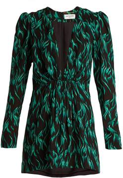 SAINT LAURENT Peacock-print deep V-neck dress