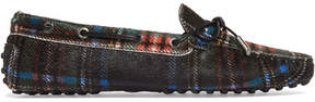 Tod's Gommino Leather-trimmed Tartan Calf Hair Moccasins - Black