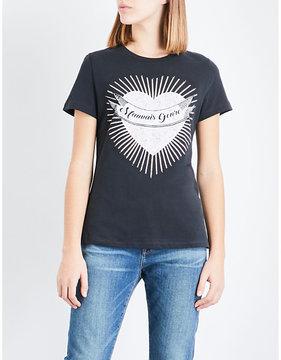 Claudie Pierlot Heart-print cotton-jersey T-shirt