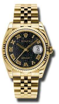 Rolex Datejust Black Dial Automatic 18kt Yellow Gold Watch