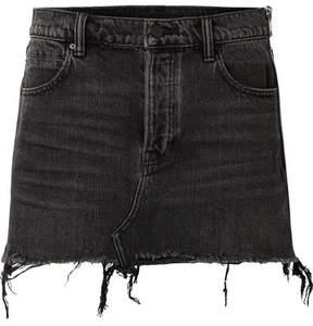 Alexander Wang Zip-embellished Frayed Denim Mini Skirt - Dark gray