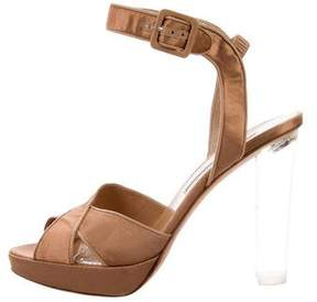 Brian Atwood Satin Ankle Strap Sandals