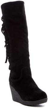 BearPaw Britney Genuine Shearling Tall Wedge Boot