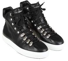 DSQUARED2 Men's Black Leather Hi Top Sneakers.