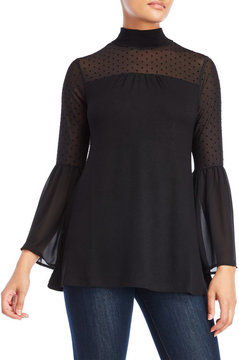 August Silk Velvet Dot Mesh Bell Sleeve Top
