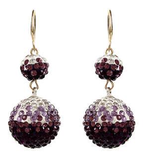 Amrita Singh Purple & Black Crystal Sphere Drop Earrings