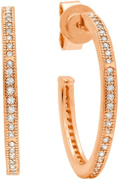 Crislu 18K Gold Plated Sterling Silver CZ Pave Stackable 25mm Open Band Hoop Earrings