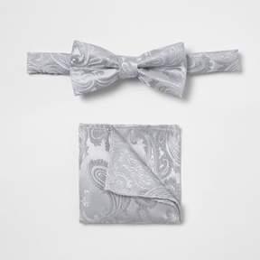 River Island Boys grey paisley bow tie set
