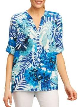 Foxcroft Printed Three-Fourth-Sleeve Blouse